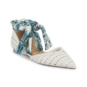 Sloane Braided Point-Toe Ankle Strap Flats Size 7